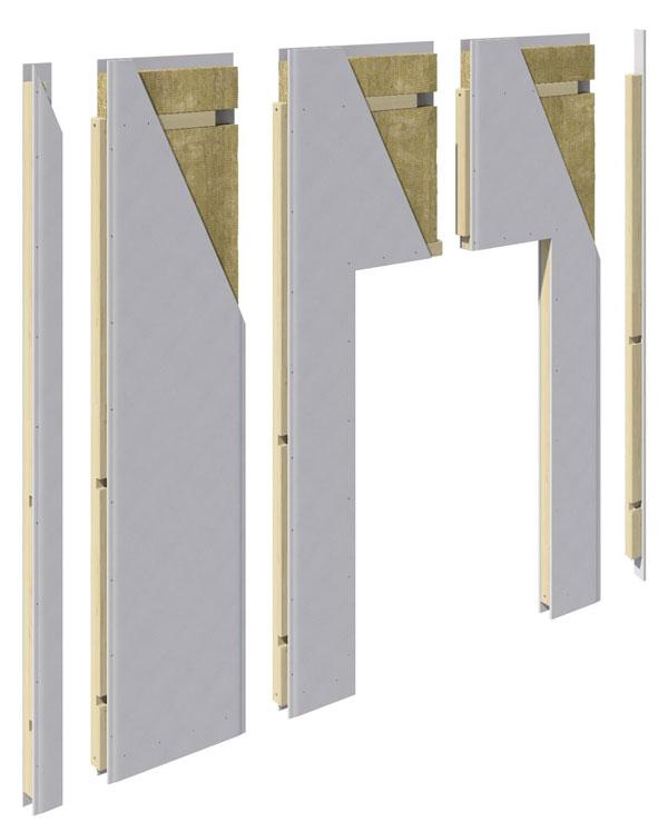 In der Basisversion verfügt wall4all über eine Oberfläche aus Gipskarton, die sich beliebig finalisieren lässt. Zudem ist eine Designvariante mit naturbelassener, grau oder weiß lasierter Fichte mit sichtbarer Holzstruktur erhältlich.